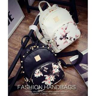 Korean mini floral butterfly studs leather backpack