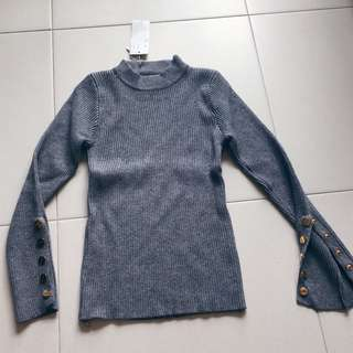 Instock! - BNWT Dark Heather Grey Long Sleeve Button Down Mock Neck / High Neck Knitted Top
