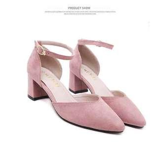 Block Heel Ankle Strap (Pink)