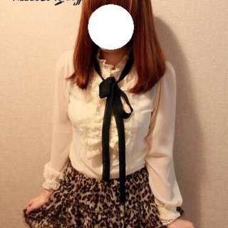 🚚 日本購入 荷葉造型 蕾絲邊 雪紡襯衫
