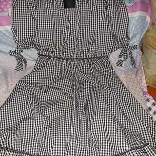 Folded&hung checkered dress