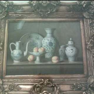 Vintage chinese vases oil painting
