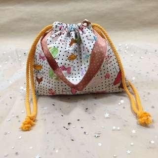 【手做包包】芭蕾舞女孩風格束口袋