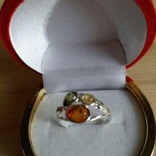 天然琥珀純銀戒指, 外徑18mm送戒指盒