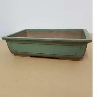 Bonsai Pot - Glazed Light Green Rectangular Pot