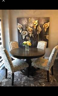 CHAIRS ONLY. Trendy light beige Dining chairs selling all 4 together for $200. Light fading/staining (see last pic). Overall great value and good condition. Table not for sale. Pick up Vaughan Hwy 7 and kipling