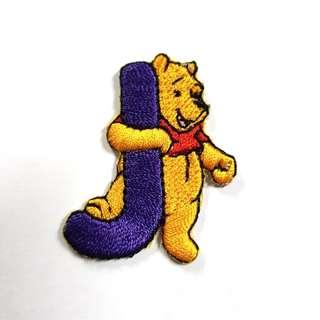 "Iron On Patch/ Applique ↪ Alphabet Pooh ""J "" ↔️ 💱 $2.00 Each Alphabet"