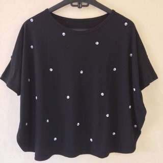 Black with small skull crop top