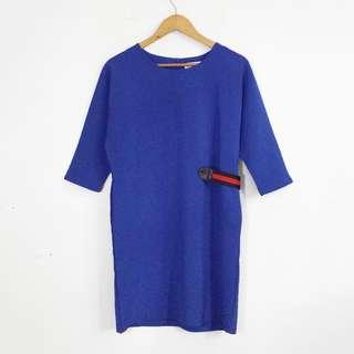 Blue Colorblock Belt Dress with Side Pockets