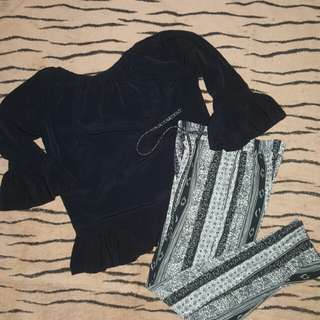 SET (BLACK SABRINA & KULOT) TAKE ALL 85 RIBU