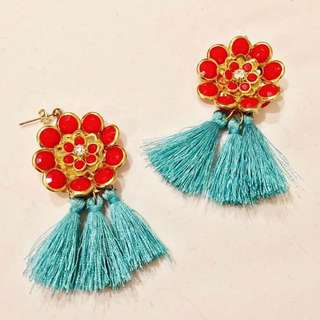 Tassel Earrings with Flower Enamel