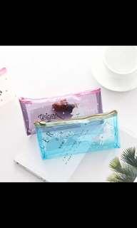 Transparent unicorn pencil case