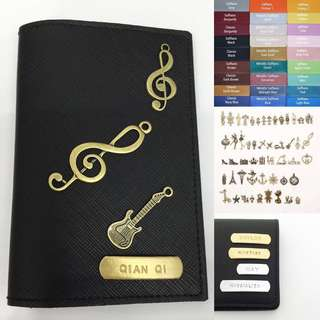 Personalised Passport Holder Custom Passport Cover Customised Name Saffiano Black Passport Case with Musical Charms series - FREE SHIPPING