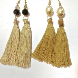 Gold Tassel Earrings with Pearl