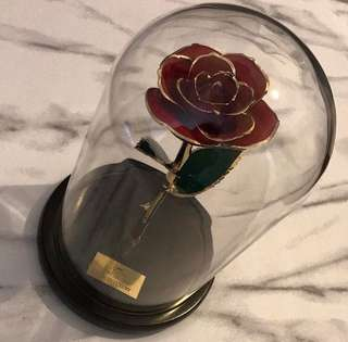 24k gold plated liquid luxury rose and dome.