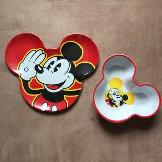 Disney Mickey Mouse Plate & Bowl (Used)
