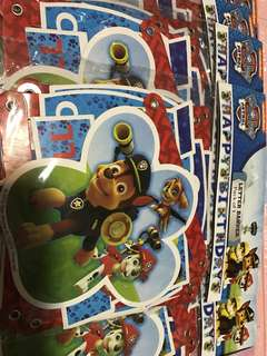 Instock Paw Patrol birthday letter banner authentic brand new