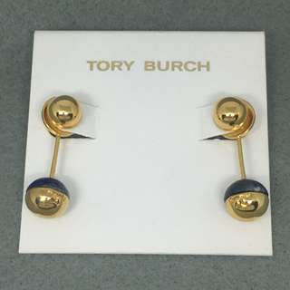 Tory Burch Sample Earrings 深藍色天然石配金色珠吊墜耳環