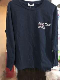 Navy Blue 全新文青風藏青圓領長袖T恤