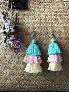 Pastel Layered Tassel Earrings