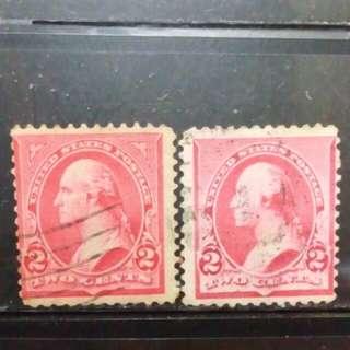 [lapyip1230] 美國 1890年代 華盛頓 三仙 有相角/無相角 一對