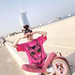 Gucci fication pink tee
