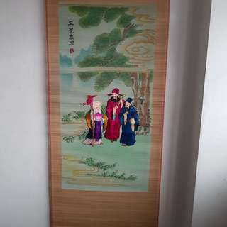 Vintage Chinese silk embroidery Fu Lu Shou scroll