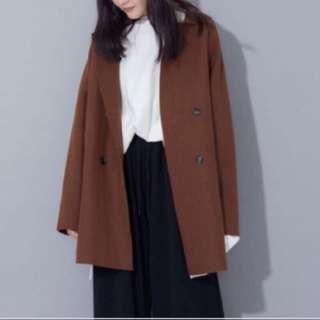 Boga shop 韓國網紋毛料排扣外套/咖色 11月新品