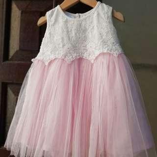 Pink Tutu Lace Dress