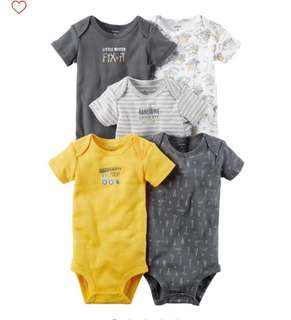 *18M* Brand New Carter's 5-Pack Short Sleeve Bodysuits For Baby Boy