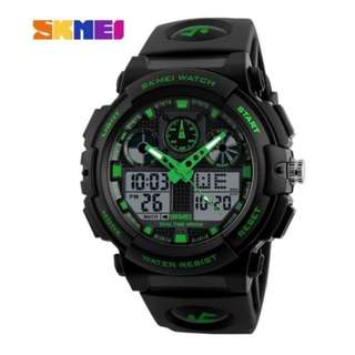 SKMEI 1270 GREEN WITH RUBBER STRAP WATCH FOR MEN - COD FREE SHIPPING