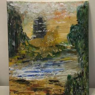 Acrylic painting - Amazon island