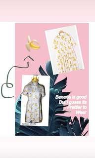 Banana print skater dress