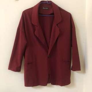 Queenshop酒紅色西裝外套#換季五折