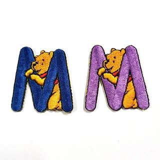 """Iron On Patch/ Applique ↪ Alphabet Pooh """"M"""" ↔️ 💱 $2.00 Each Alphabet"""