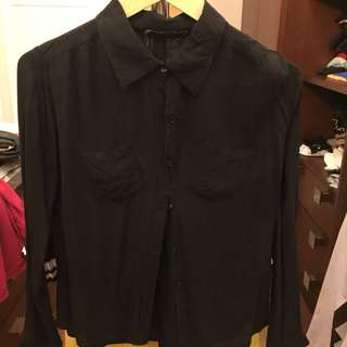 Office top black button down