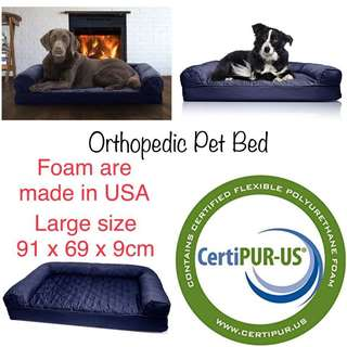 BN USA MADE FurHaven Large Quilted Orthopedic Sofa Pet Bed for Dogs and Cats, Navy