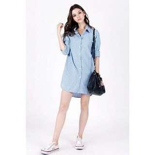 Lovet Authentic Boyfriend Ash Blue Pinstripe Button Down Shirt Dress