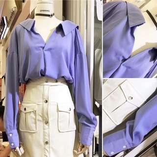 寬鬆 V領 翻領 露鎖骨 小露背 藍紫色 襯衫 上衣
