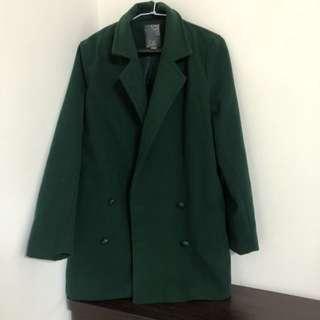 冬天西裝外套 綠##換季五折