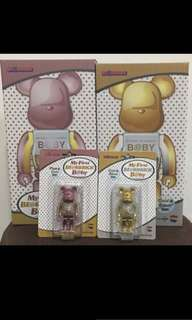 Bearbrick first baby pink and gold 400%+100% set