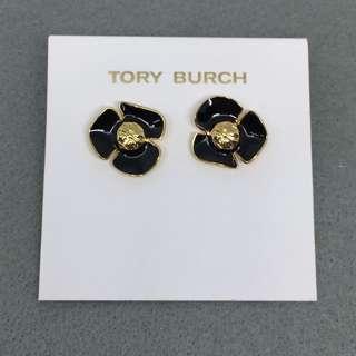 Tory Burch Sample Earrings 黑色配金色立體花花耳環