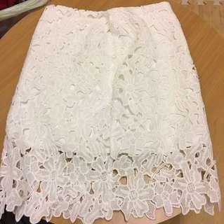 鉤花蕾絲半身裙