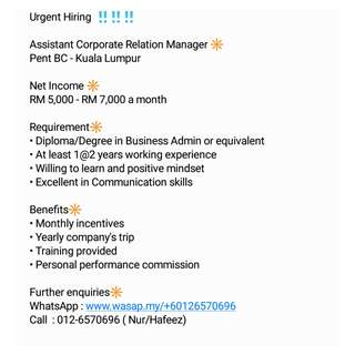 Assistant Corporate Relation Manager