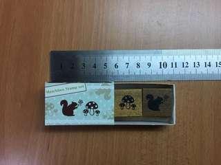 Diary stamp mushroom and squirrel design