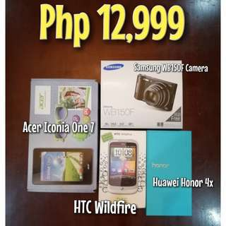 Huawei Honor 4x, Acer Iconia One 7, HTC Wildfire, Samsung WB150F Camera