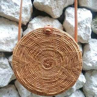 "Rattan ""Flora"" Round Sling Bag"