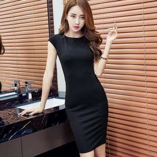 PO : Sizes Available From S To XL. Super Classy And Chic Korean Style Cat Sleeves Bodycon/Body Hugging/Sheath Midi/Mid Length Work/Office Dress