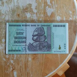 津巴布韋幣 全新UNC 2008年五十萬億元(号碼隨意)
