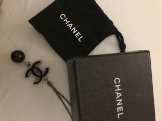 Chanel CC Drop Necklace (dual design) - Black